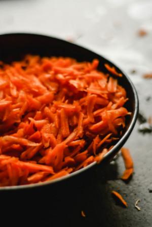 shredded carrots in a pan