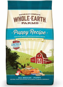 bag of whole earth farms puppy recipe dry dog food