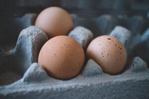 3 eggs in a carton