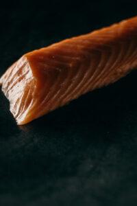 salmon on a black screen